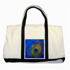 Blue Peacock Feather Two Tone Tote Bag