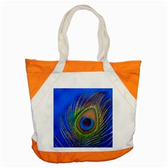 Blue Peacock Feather Accent Tote Bag