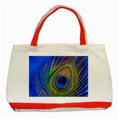 Blue Peacock Feather Classic Tote Bag (red)