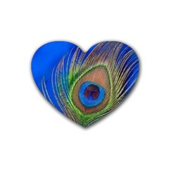 Blue Peacock Feather Heart Coaster (4 Pack)