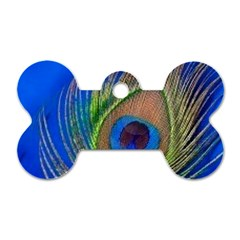 Blue Peacock Feather Dog Tag Bone (Two Sides)