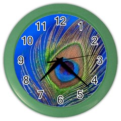 Blue Peacock Feather Color Wall Clocks