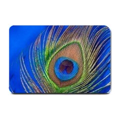 Blue Peacock Feather Small Doormat