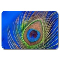 Blue Peacock Feather Large Doormat