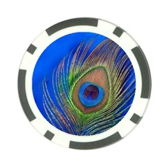 Blue Peacock Feather Poker Chip Card Guard