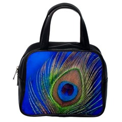 Blue Peacock Feather Classic Handbags (one Side)