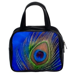 Blue Peacock Feather Classic Handbags (2 Sides)