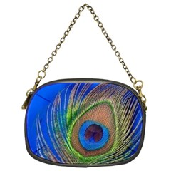 Blue Peacock Feather Chain Purses (one Side)