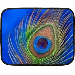 Blue Peacock Feather Double Sided Fleece Blanket (Mini)