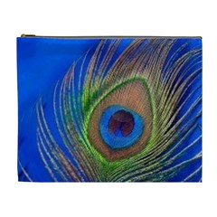 Blue Peacock Feather Cosmetic Bag (xl)