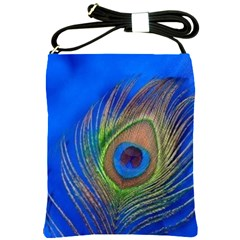 Blue Peacock Feather Shoulder Sling Bags