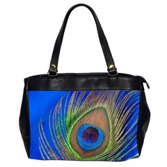 Blue Peacock Feather Office Handbags (2 Sides)