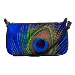 Blue Peacock Feather Shoulder Clutch Bags