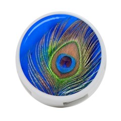 Blue Peacock Feather 4-Port USB Hub (Two Sides)