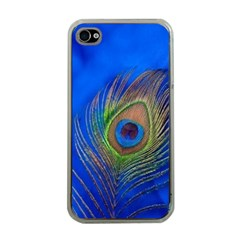 Blue Peacock Feather Apple Iphone 4 Case (clear)