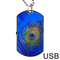 Blue Peacock Feather Dog Tag Usb Flash (one Side)