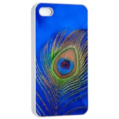 Blue Peacock Feather Apple Iphone 4/4s Seamless Case (white)