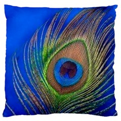 Blue Peacock Feather Large Cushion Case (one Side)