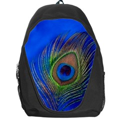 Blue Peacock Feather Backpack Bag