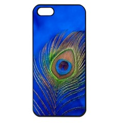 Blue Peacock Feather Apple iPhone 5 Seamless Case (Black)
