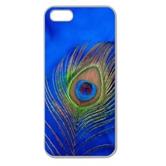 Blue Peacock Feather Apple Seamless iPhone 5 Case (Clear)