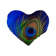 Blue Peacock Feather Standard 16  Premium Heart Shape Cushions