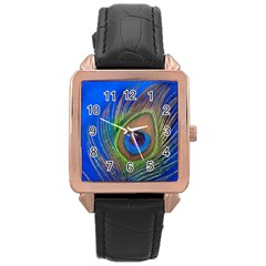 Blue Peacock Feather Rose Gold Leather Watch