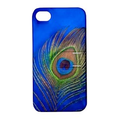 Blue Peacock Feather Apple Iphone 4/4s Hardshell Case With Stand