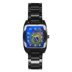 Blue Peacock Feather Stainless Steel Barrel Watch