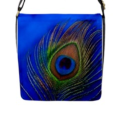 Blue Peacock Feather Flap Messenger Bag (L)