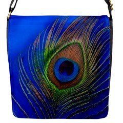 Blue Peacock Feather Flap Messenger Bag (s)