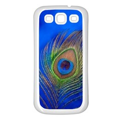 Blue Peacock Feather Samsung Galaxy S3 Back Case (white)