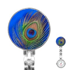 Blue Peacock Feather Stainless Steel Nurses Watch