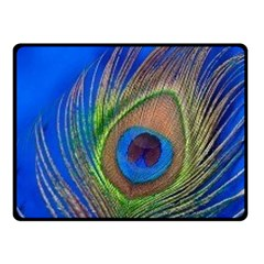 Blue Peacock Feather Double Sided Fleece Blanket (small)