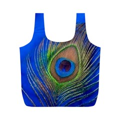 Blue Peacock Feather Full Print Recycle Bags (M)