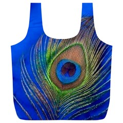 Blue Peacock Feather Full Print Recycle Bags (l)