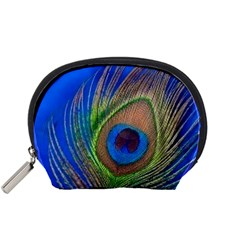 Blue Peacock Feather Accessory Pouches (small)