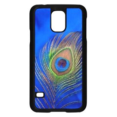 Blue Peacock Feather Samsung Galaxy S5 Case (Black)