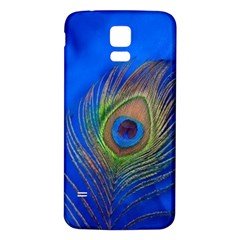 Blue Peacock Feather Samsung Galaxy S5 Back Case (white)