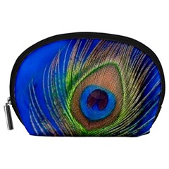 Blue Peacock Feather Accessory Pouches (large)