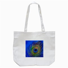 Blue Peacock Feather Tote Bag (white)