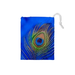 Blue Peacock Feather Drawstring Pouches (Small)