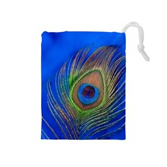 Blue Peacock Feather Drawstring Pouches (medium)