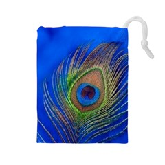 Blue Peacock Feather Drawstring Pouches (large)