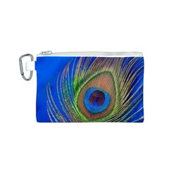 Blue Peacock Feather Canvas Cosmetic Bag (S)