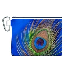 Blue Peacock Feather Canvas Cosmetic Bag (l)