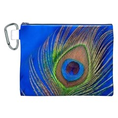 Blue Peacock Feather Canvas Cosmetic Bag (XXL)