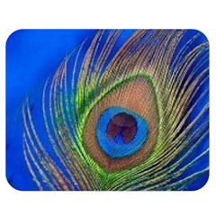 Blue Peacock Feather Double Sided Flano Blanket (medium)