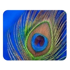 Blue Peacock Feather Double Sided Flano Blanket (large)