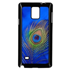 Blue Peacock Feather Samsung Galaxy Note 4 Case (black)